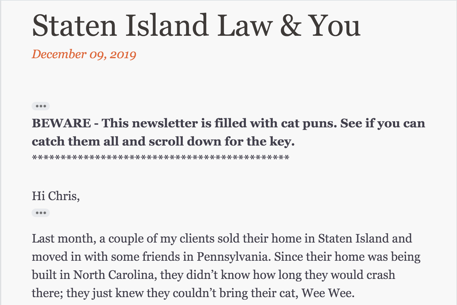 newsletter with cat pun - Travis Staten Island Real Estate Attorney Staten Island Real Estate Attorney